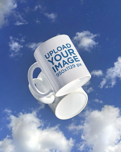 Mockup Featuring an 11 oz Coffee Mug Placed on a Reflective Surface m599
