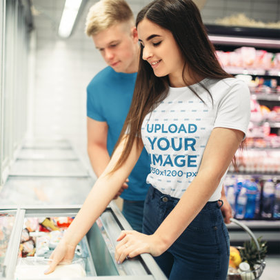 T-Shirt Mockup of a Woman at the Supermarket with Her Boyfriend 35136-r-el2