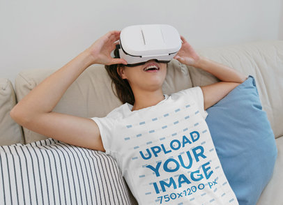 T-Shirt Mockup of a Woman Using a VR Device 43114-r-el2