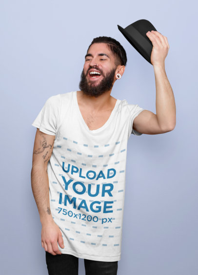 Mockup of a Hipster Man Wearing a Scoop Neck T-Shirt 44308-r-el2