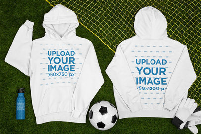 Hoodie Mockup Featuring a Customizable Aluminum Bottle and a Soccer Ball m390