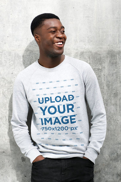 Mockup of a Joyful Man Wearing a Heather Sweatshirt 44502-r-el2