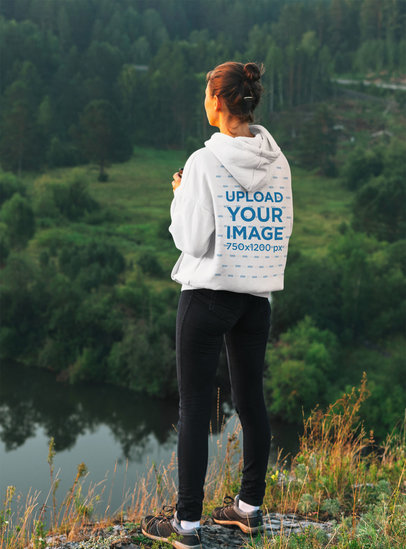 Hoodie Mockup Featuring a Woman Admiring a Lake View 44324-r-el2