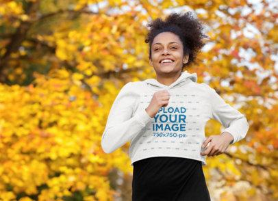Crop Top Hoodie Mockup of a Woman Running Outdoors 44244-r-el2