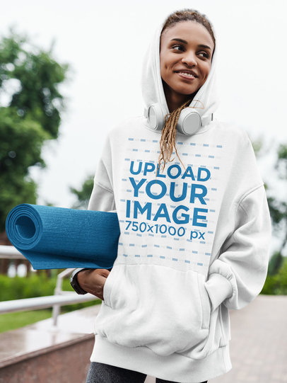 Hoodie Mockup of a Young Woman Going to Yoga Class 44490-r-el2