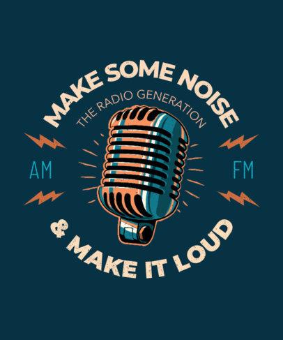 T-Shirt Design Template Featuring an Old-School Microphone 3132A
