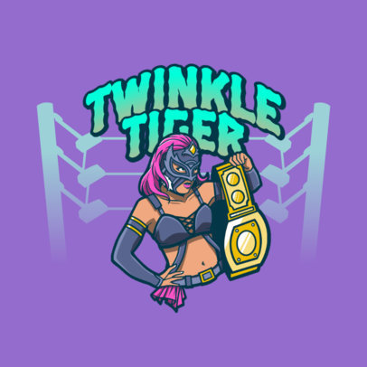 Logo Creator Featuring a Masked Female Wrestler with a Golden Belt 3608a