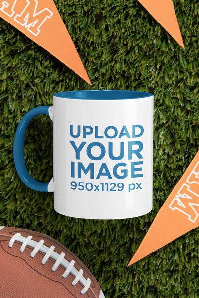 Mockup of an 11 oz Coffee Mug with a Colored Rim by Sports Pennants m349