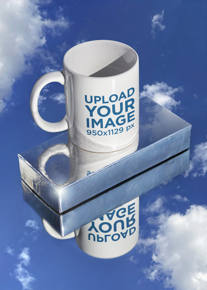 11 oz Coffee Mug Mockup Featuring a Mirror Surface m600