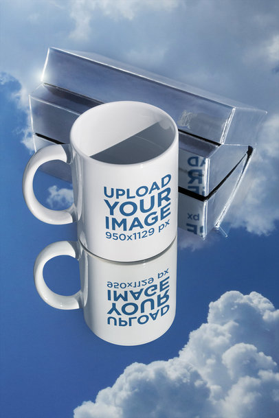 Mockup of an 11 oz Mug over a Mirror Surface m604