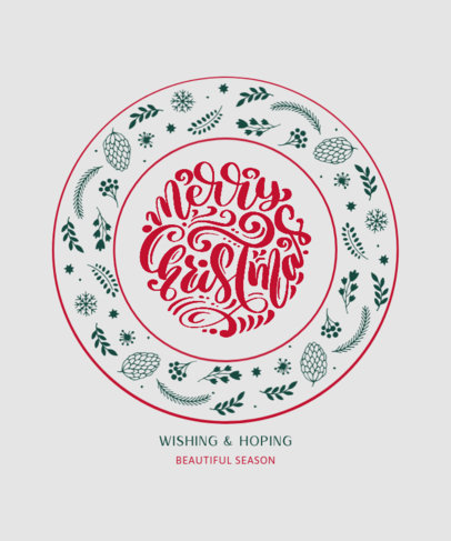 T-Shirt Design Maker Featuring a Merry Christmas Message and a Cute Ornamental Design 3154a-el1