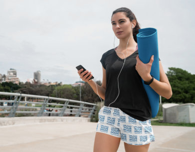 Mockup of a Woman Wearing Running Shorts on the Street 41199-rel2