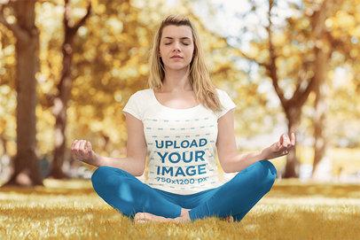 T-Shirt Mockup of a Woman Calmly Doing Yoga at a Park 43235-r-el2