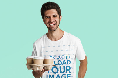 T-Shirt Mockup of a Happy Man Delivering Coffee 41285-r-el2