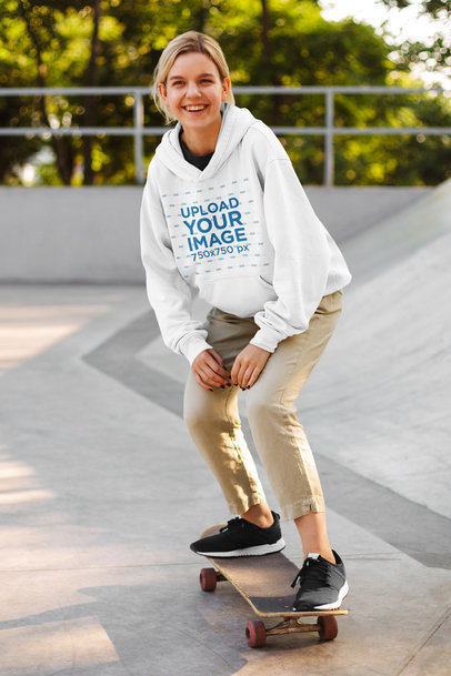 Hoodie Mockup Featuring a Female Skater on a Skatepark 39274-r-el2