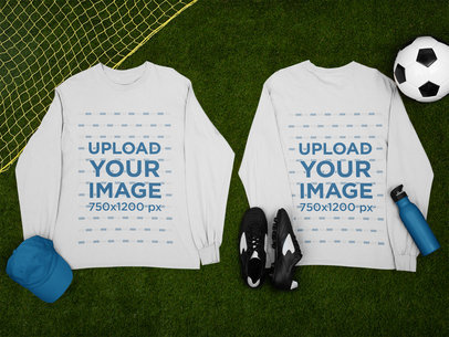 Both Sides-View Mockup of a Long Sleeve Tee Next to Some Soccer Ornaments m384