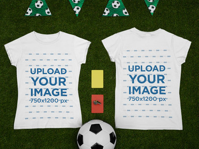 Both Sides-View Mockup of a Round Neck T-Shirt by a Soccer Ball m381