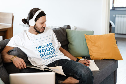 T-Shirt Mockup of a Musician Writing Songs at Home 44498-r-el2