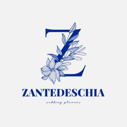 Monogram Logo Template Featuring a Letter with Calla Lillies 3142e-el1