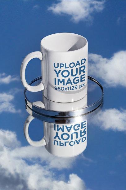11 oz Mug Mockup Featuring a Small Mirror and a Reflective Surface m591