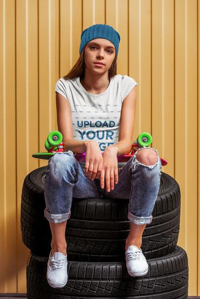 Tee Mockup of a Teenager Posing with a Skateboard 44922-r-el2