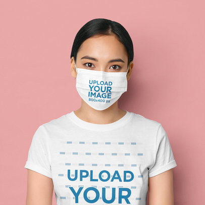 T-Shirt and Face Mask Mockup Featuring a Young Woman in a Studio 42577-r-el2