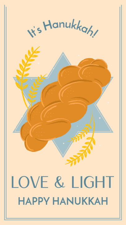 Hanukkah-Themed Instagram Story Generator Featuring a Challah Bread Illustration 3152d