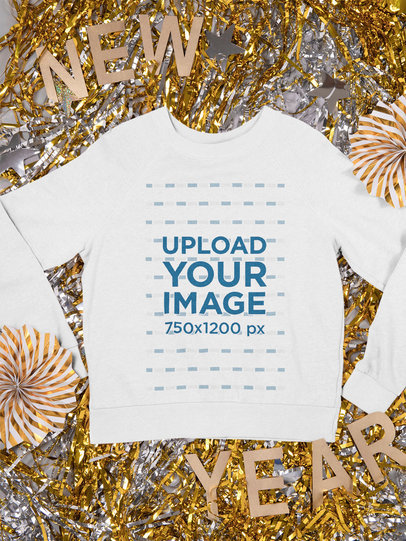 Mockup of a Crewneck Sweatshirt Placed Over New Year Party Decorations m291