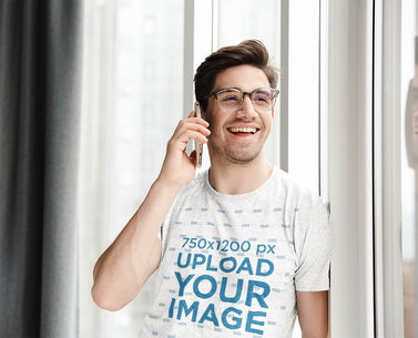 Heathered T-Shirt Mockup Featuring a Happy Man Making a Phone Call 44338-r-el2