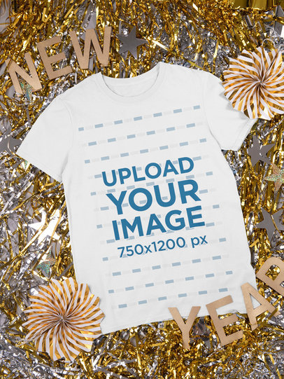 Round Neck Tee Mockup Featuring New Year's Eve Decorations m288
