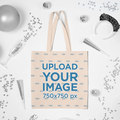 Tote Bag Mockup Featuring a New Year's Theme m292