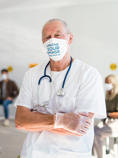 Face Mask Mockup of a Doctor Posing in a Waiting Room 44894-r-el2