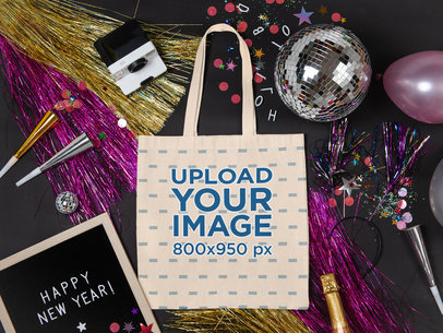 Mockup of a Tote Bag on the Floor with New Year's Party Items m294