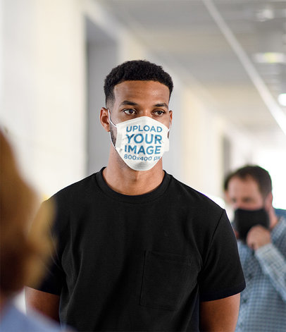 Face Mask Mockup Featuring a Man Waiting in Line 44901-r-el2