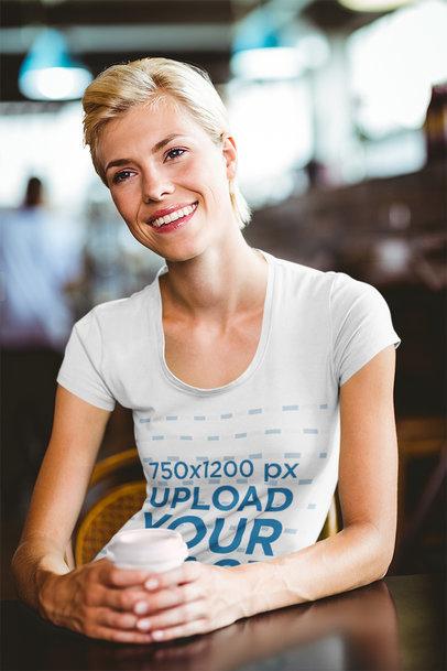 T-Shirt Mockup of a Woman at a Coffee House 44221-r-el2