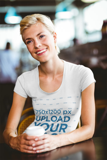 T-Shirt Mockup of a Woman at a Coffee House 44221-r-el2