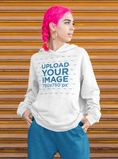 Hoodie Mockup Featuring a Woman With Pink Hair Posing m418