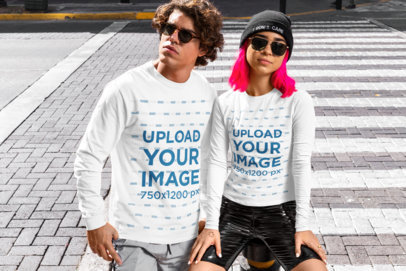 Long Sleeve Tee Mockup of a Couple in Streetwear Outfits m517