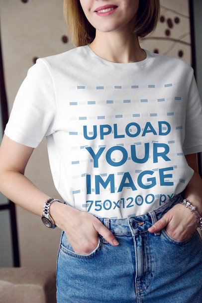 Cropped Face Mockup of a Woman Wearing a Basic T-Shirt 45093-r-el2