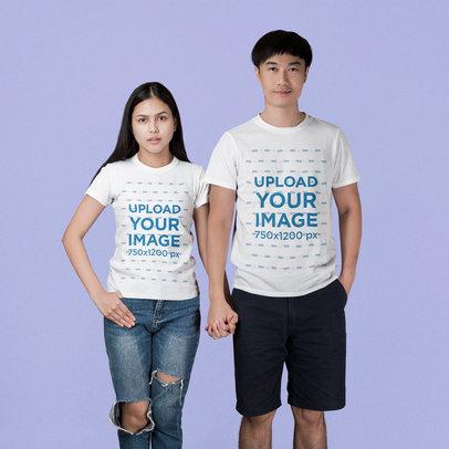 T-Shirt Mockup of a Couple Holding Hands at a Studio 45101-r-el2