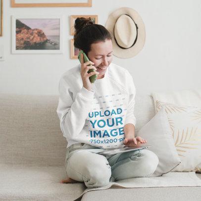 Sweatshirt Mockup of a Woman Talking on the Phone at Home 45085-r-el2