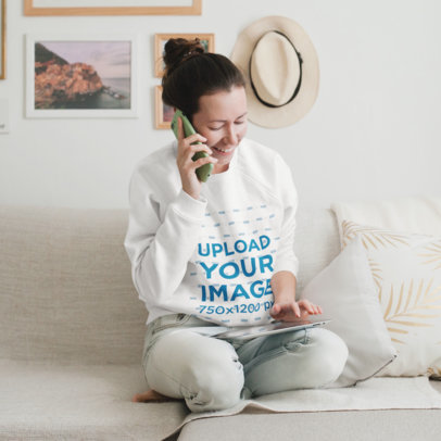 Sweatshirt Mockup of a Woman Talking on the Phone at Home 45085-r-el2