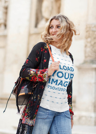 T-Shirt Mockup of a Stylish Woman Walking in a City 44750-r-el2