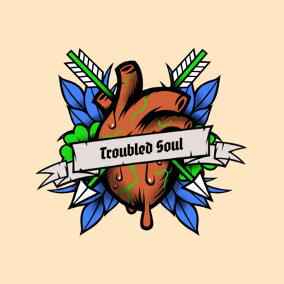 Logo Maker for Musicians Featuring a Heart Tattoo Illustration 3862a