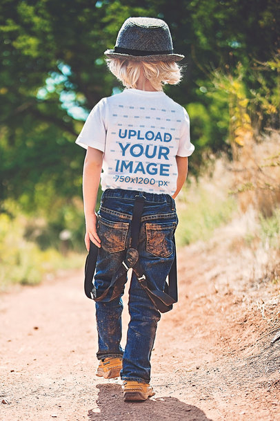 Back View Mockup of a Kid Wearing a T-Shirt and Walking in Nature 45040-r-el2