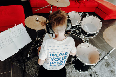 T-Shirt Mockup of a Boy Practicing Drums 45042-r-el2