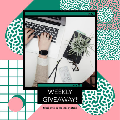 Instagram Post Generator for a Giveaway Featuring Memphis Style Graphics 3172e