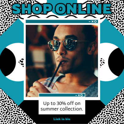 Instagram Post Template With a Memphis Style for an Online Offer Ad 3172c