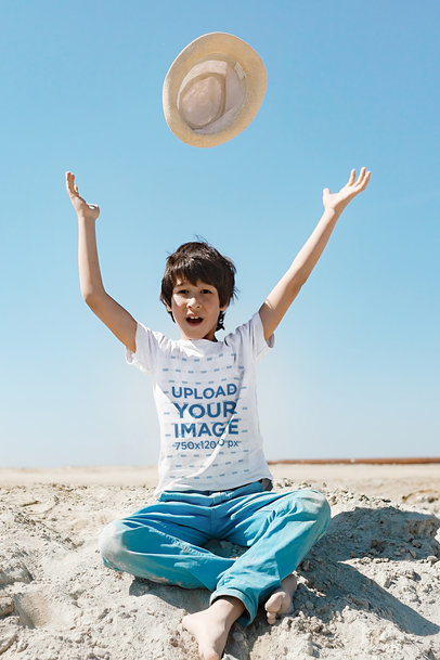 T-Shirt Mockup of a Boy Playing with His Hat 45051-r-el2