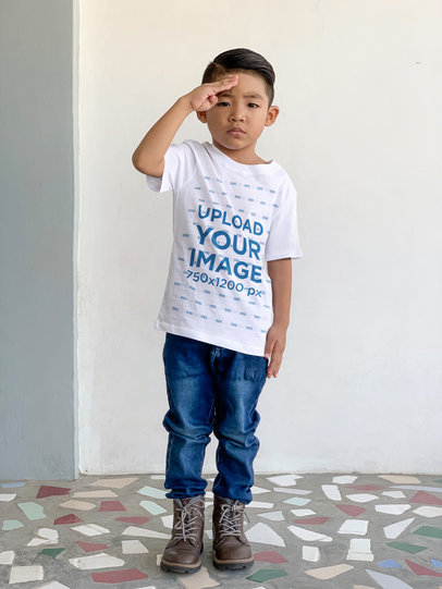 T-Shirt Mockup of a Little Boy Doing a Soldier Salute 45096-r-el2